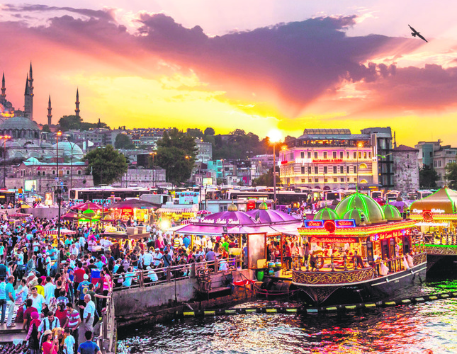 Typical open-air market in Istanbul.